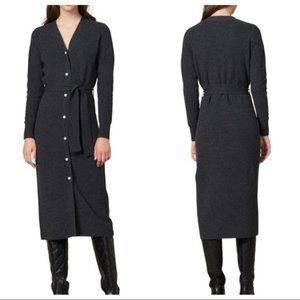 SANDRO Faux Pearl Wool Cashmere Midi Knit Dress